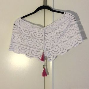 White knit beach short cover up